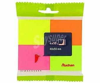 Auchan Lote de 4 paquetes de 50 notas adhesivas de 4 colores y de 50x40 milímetros auchan 200u