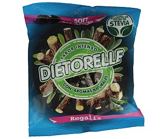 Dietorelle Caramelo de regaliz sabor intenso con extracto de hojas de stevia Bolsa 70 g