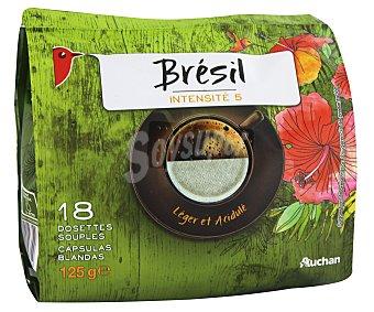 Auchan Café molido de tueste natural de origen Brasil monodosis compatibles con Senseo (100% arábica) 18 unidades 125 gr