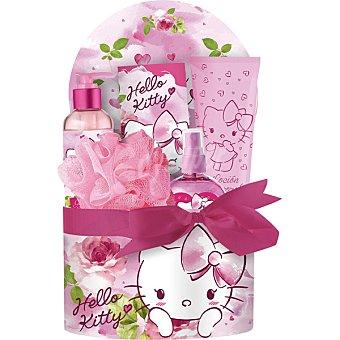 AIR VAL Hello Kitty cofre con eau de toilette infantil + esponja + loción corporal tubo 165 ml + sales de baño 50 g + gel de baño 200 ml spray 120 ml