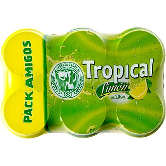TROPICAL Cerveza con limón natural  Pack 6 latas 33 cl