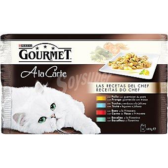 GOURMET A LA CARTE Para gato Las recetas del chef surtido de carnes y pescados 4 unidades bolsa 85 g 4 unidades